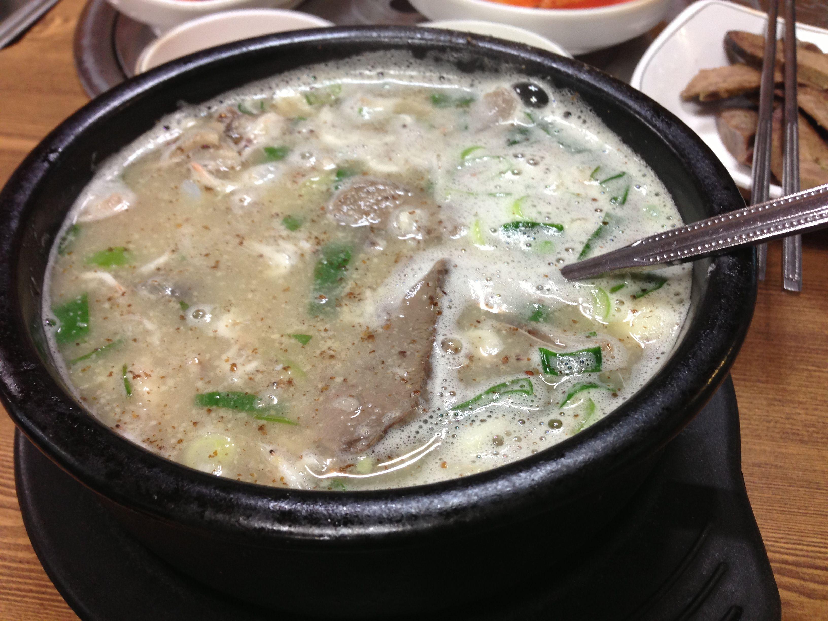 순댓국. 마시써!!! ㅎㅎ sundaeguk,  sundae sausage in beef stock Delicious!!!