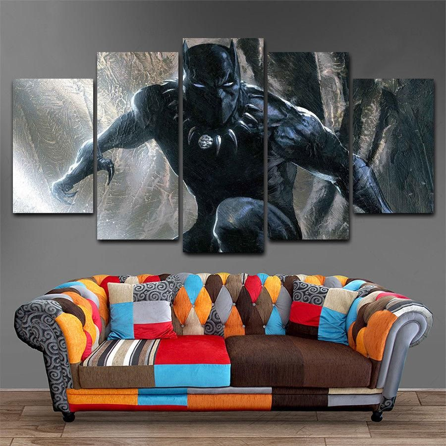 Hd 5 panel canvas art mv black panther marvel painting home decor
