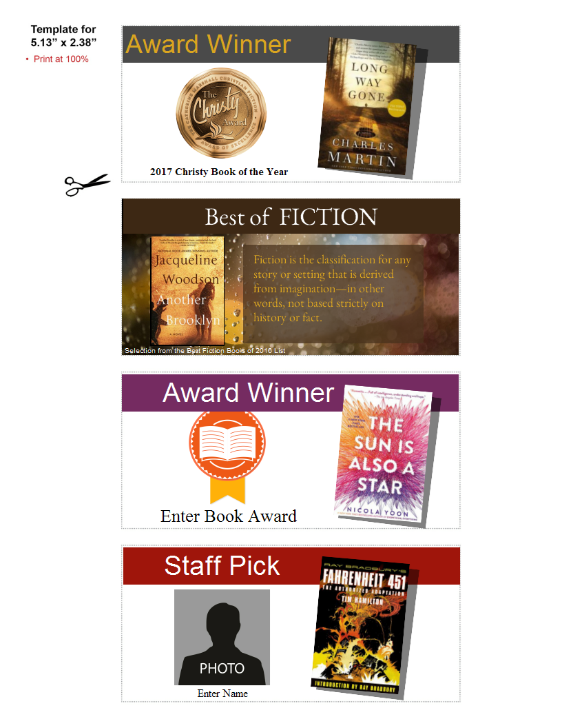 Shelf Talker Templates For Award Winning Books And Staff Picks