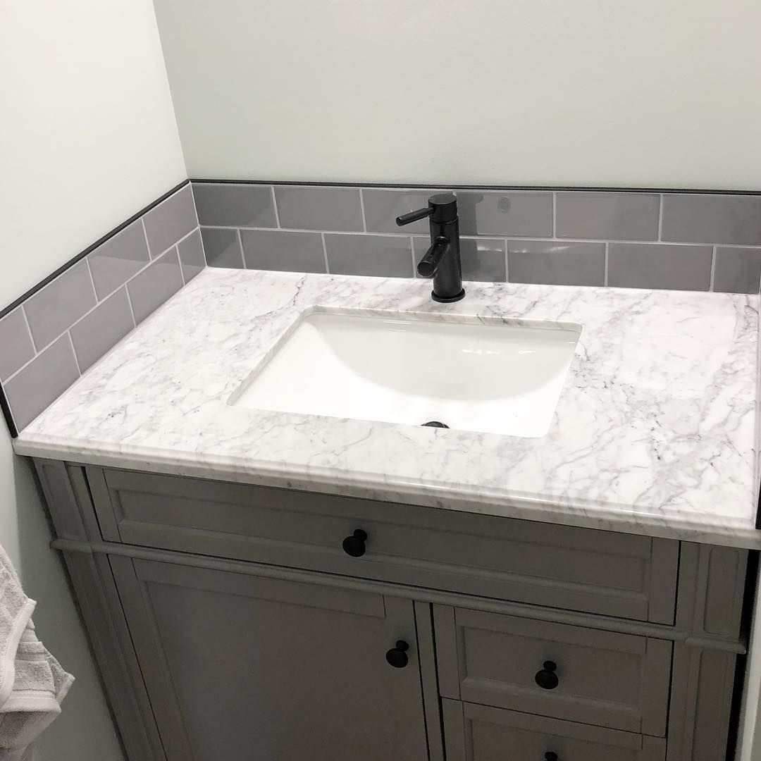 Backsplash Decor On Instagram Teeny Weeny Vanity Backsplash All Finished Subwaytilebacksplas Vanity Backsplash Tile Backsplash Bathroom Half Bathroom Decor
