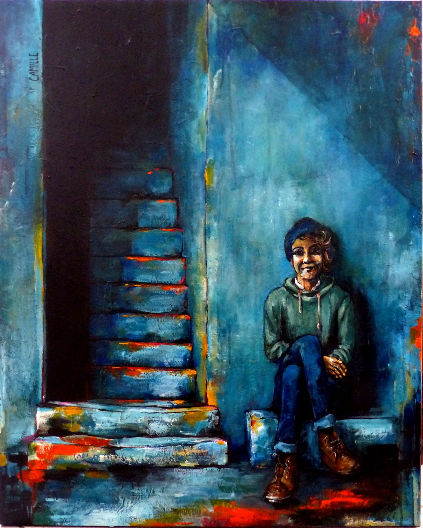 $565.23 · Painting, Acrylic  by Camille Guérin (France). Buy the original (100x80x2 cm) $565.23, including shipping (France) via #Artmajeur.  #Painting #Acrylic #Figurative #Women #RuralLife #Portraits #Femme #Assis #Marches #Escalier #Rue #Sérenité #Paix #Bleu #Village