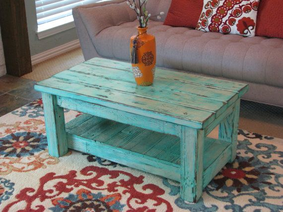 Rustic Coffee Table with Shelf in Muted Aqua choose from rounded