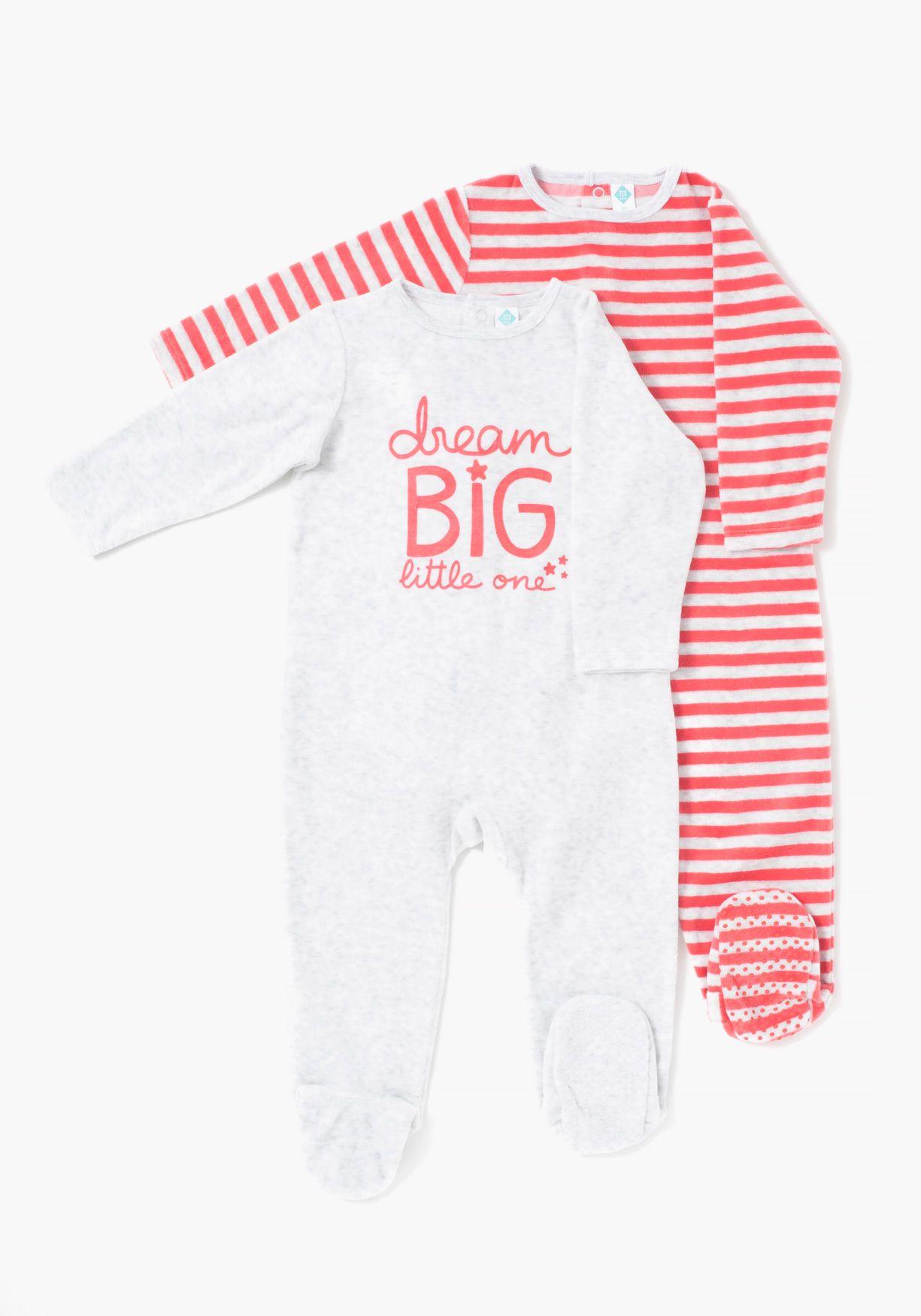c024a098d Pack de dos pijamas aterciopelados de niño o niña de manga larga