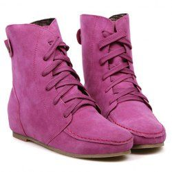 $19.51 Preppy Women's Short Boots With Suede and Stitching Design