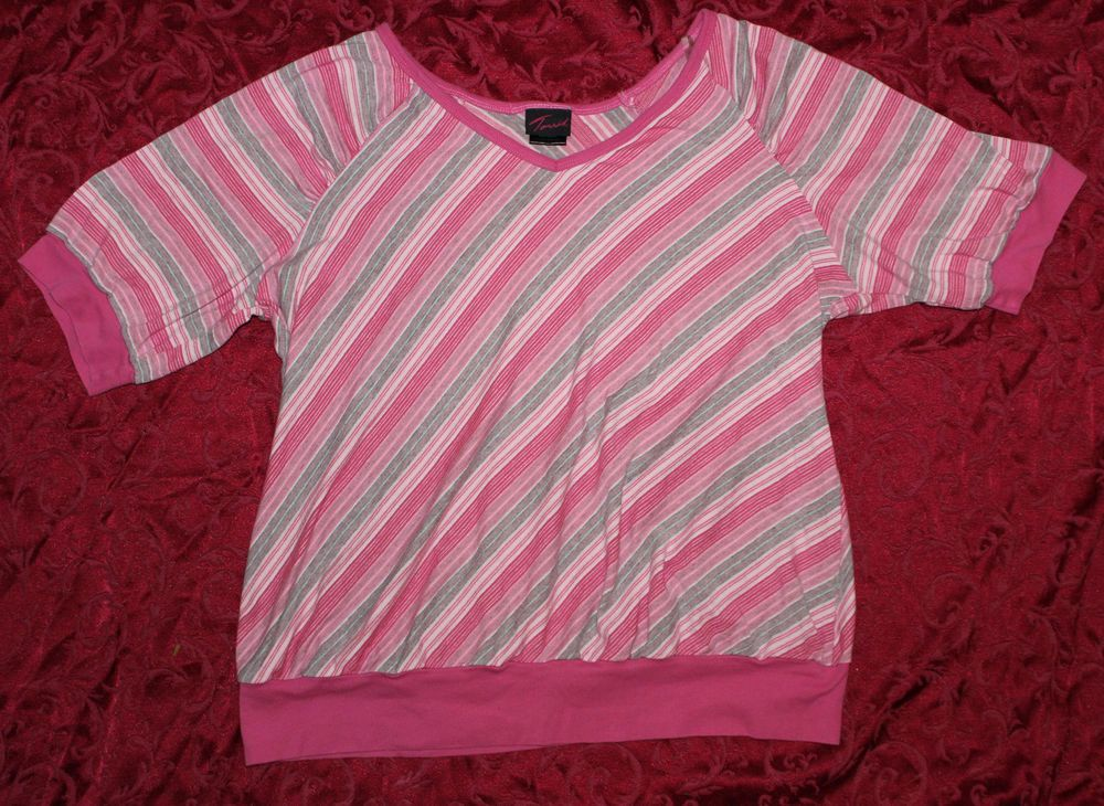 Torrid 3X Pink & Gray Striped V-Neck Thick Knit Banded Blouse Shirt