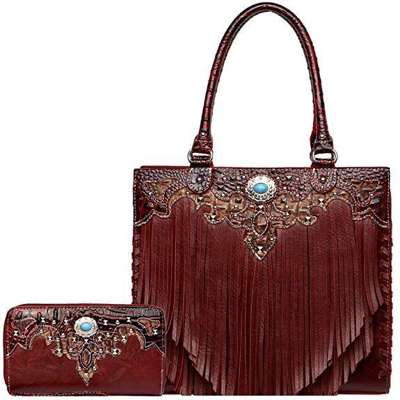 Price 59.95  - Fringe Concho Western Style Handbag Concealed Carry Purse  Country Totes Bag Women Shoulder Bag Wallet Set (Burgundy Set)  handbags ... c1ba9a5e0e7e1