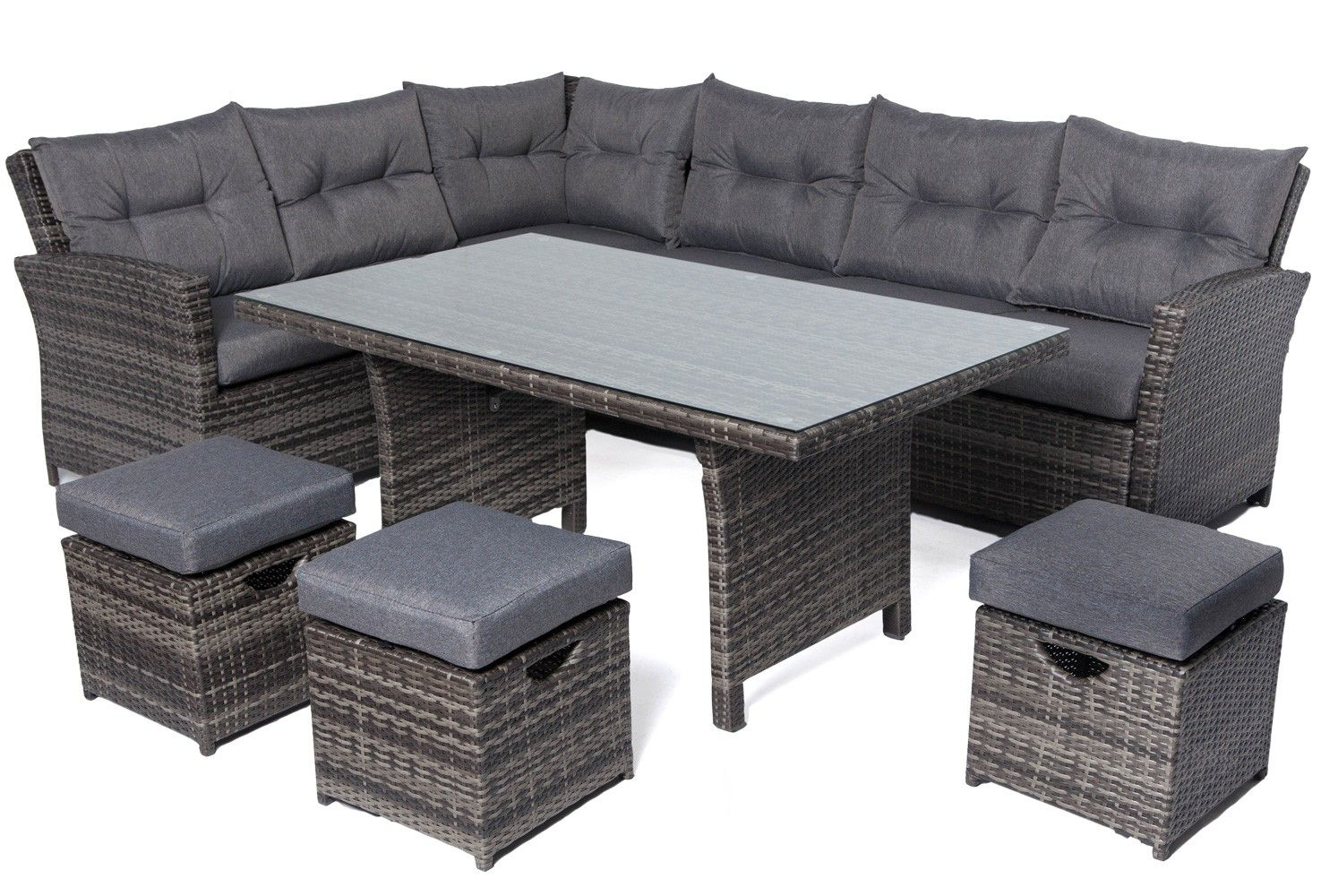 Rattan Eckbank Outdoor Mayfair 6 Seater Rattan Corner Dining Set Grey Garden Rattan