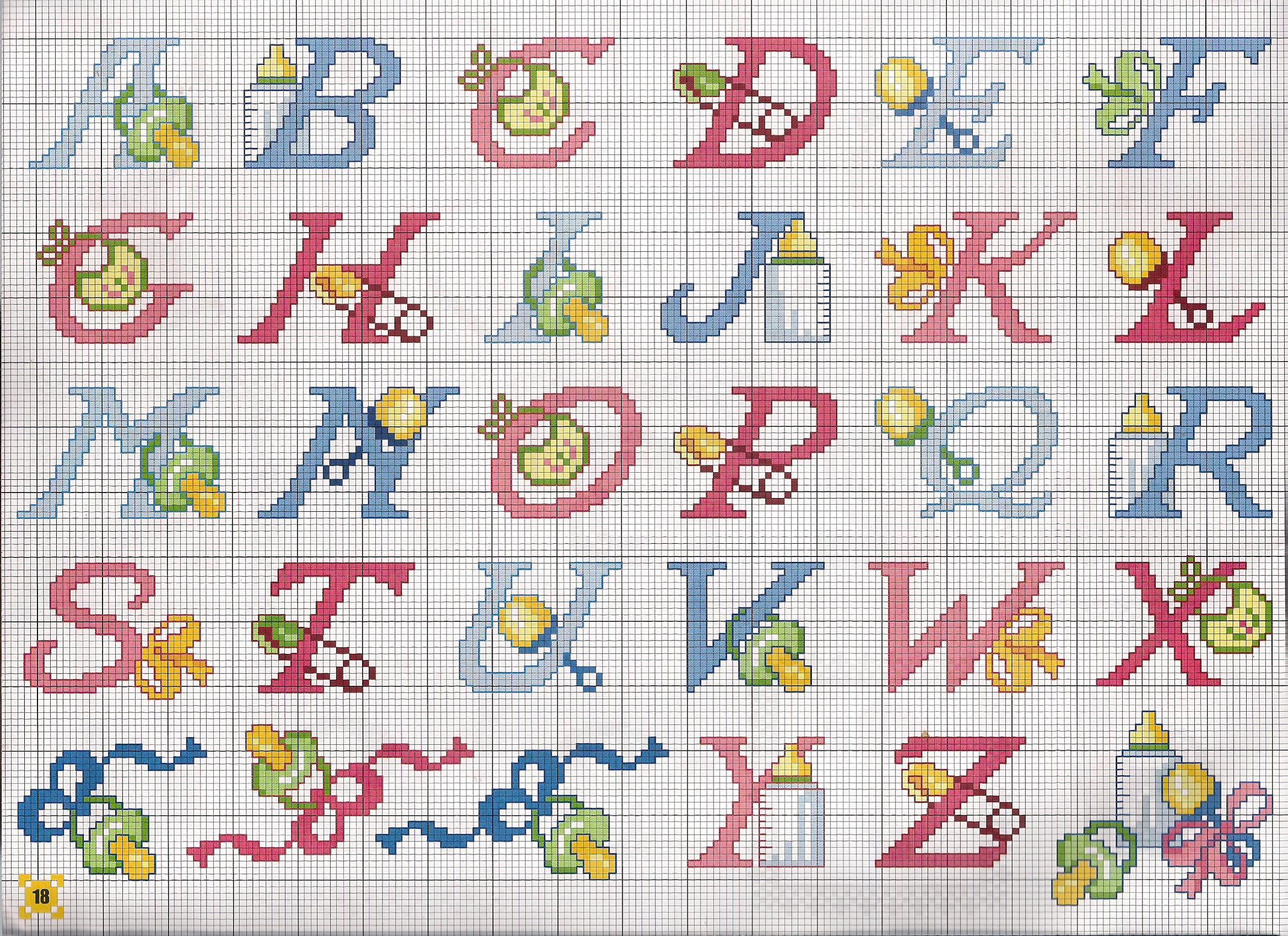 alphabet bébé biberon | Modèles de point de croix gratuits, Modèles de point de croix, Alphabet ...