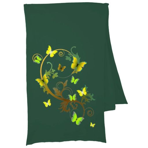 Yellow/Green Butterflies and Vines Scarf $23