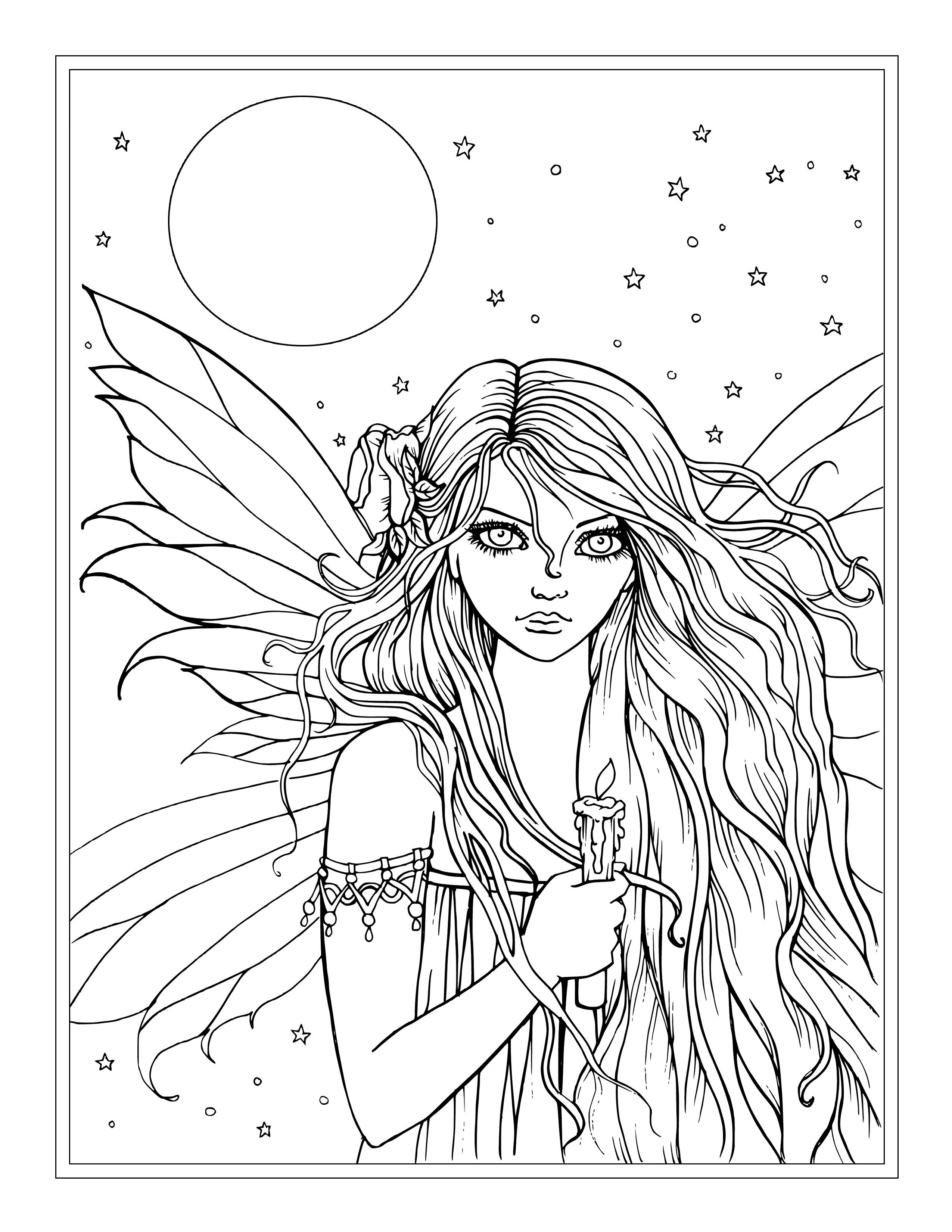 Picture Fairy Coloring Pages Detailed Coloring Pages Coloring Book Art [ 3300 x 2550 Pixel ]