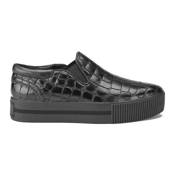 Ash Women's Karma Leather Flatform Trainers - Black/Black Sole ($260) ❤  liked on Polyvore featuring shoes, sneakers, black, platform slip on  sneakers, ash ...
