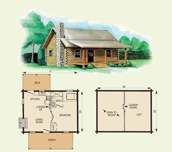 Cherokee Log Home And Log Cabin Floor Plan 780 Sf Log Cabin Plans Cabin Plans Small Log Cabin