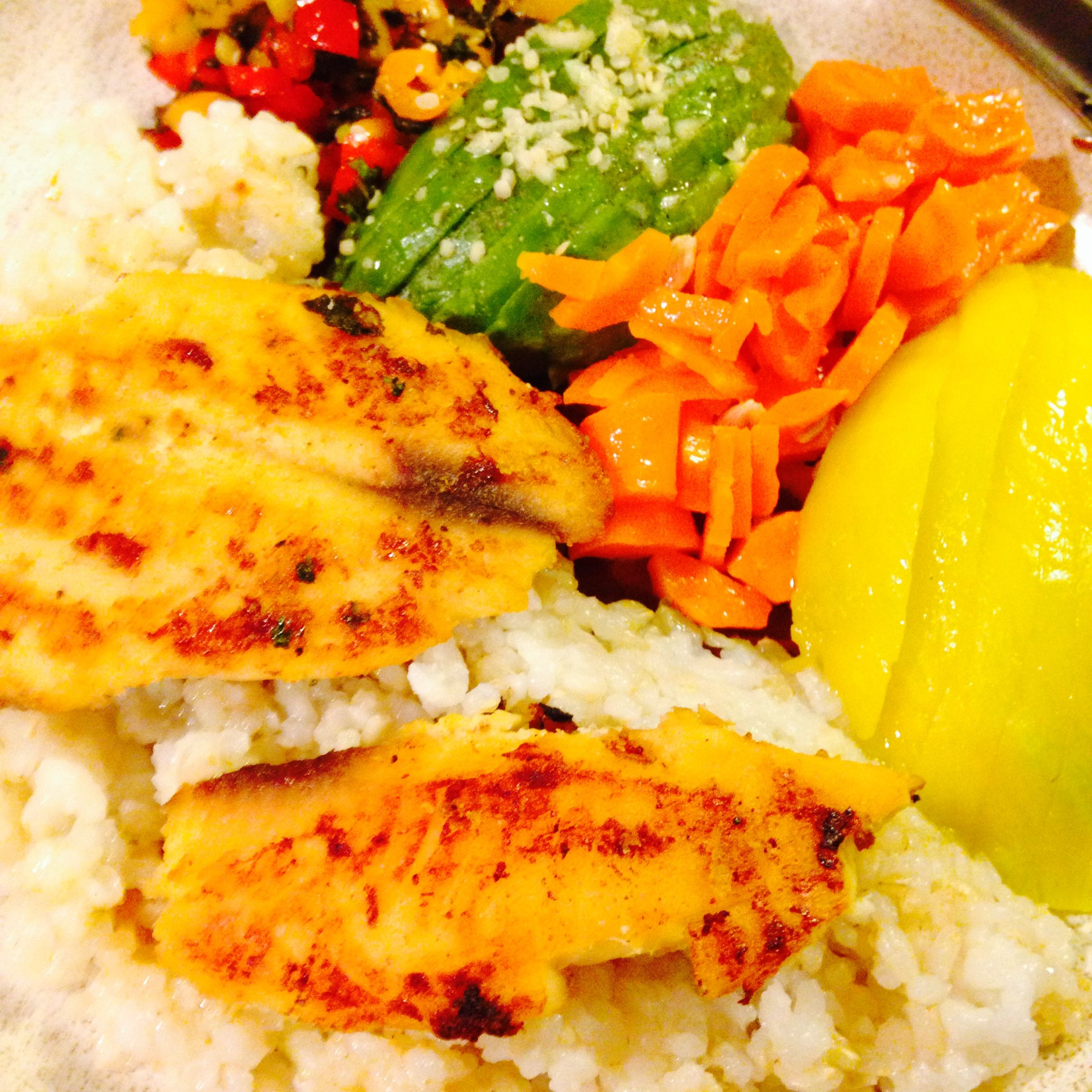 http://www.atlantichealinghemp.com/2014/06/06/pan-fried-fish-on-a-bed-of-rice-with-vegetables/