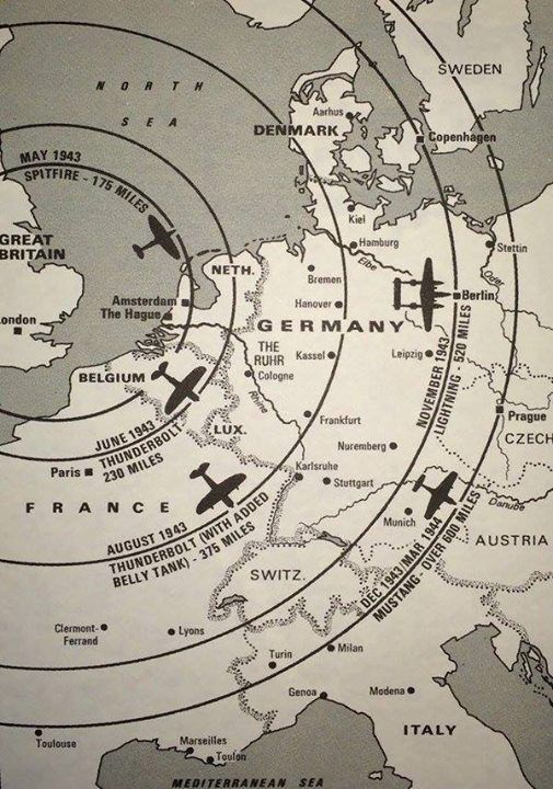 a map of the distance wwii fighters can fly from the uk mainland  http: