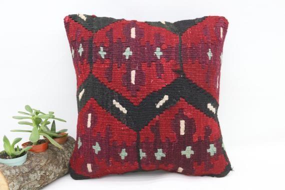 14x14 Kilim Pillow, Anatolian Pillow, Cover Pillows, Geometric Pillow, Red Pillow, Decorative Pillow