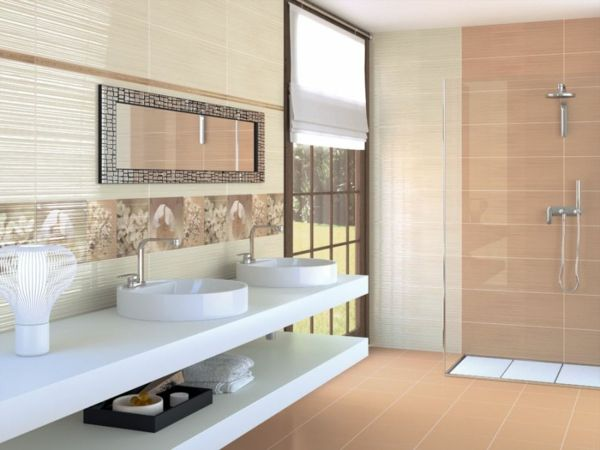fliesengestaltung im bad badezimmer bilder orange beige ... - Modernes Bad Beige
