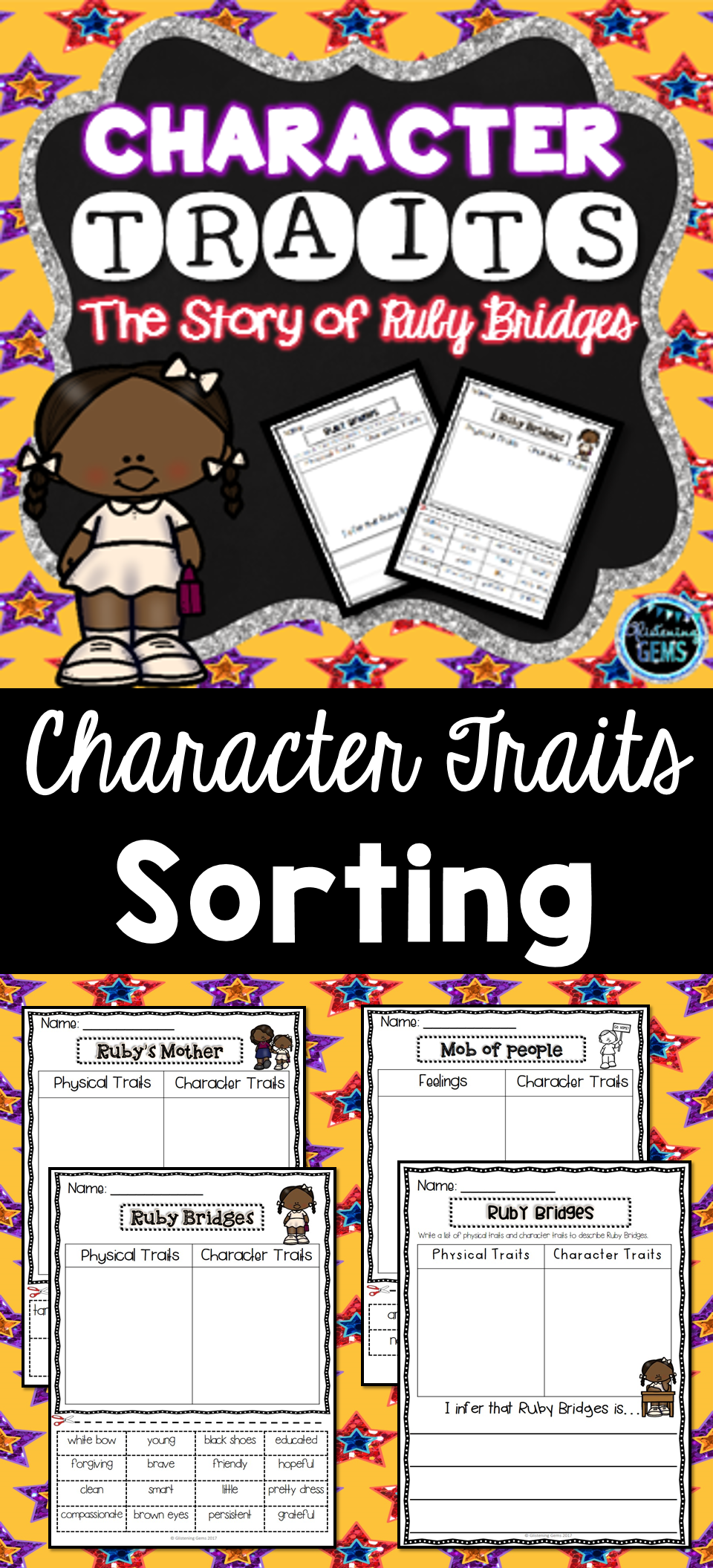 worksheet Ruby Bridges Worksheets For Second Grade the story of ruby bridges character traits sorting trait activities no prep worksheets and answer