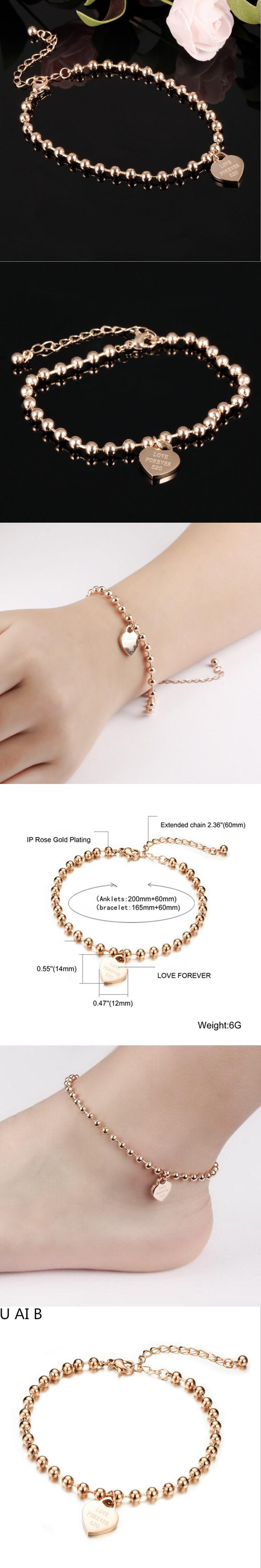 Simple Style Korean fashion love Anklets rose gold color titanium ...