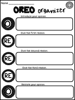OREO Opinion Writing Graphic Organizer and Prompts Gallery