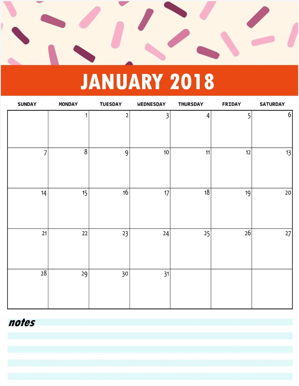 photo about Cute Free Printable Calendars referred to as Lovely 2018 No cost Printable January Calendar Month-to-month Calendar