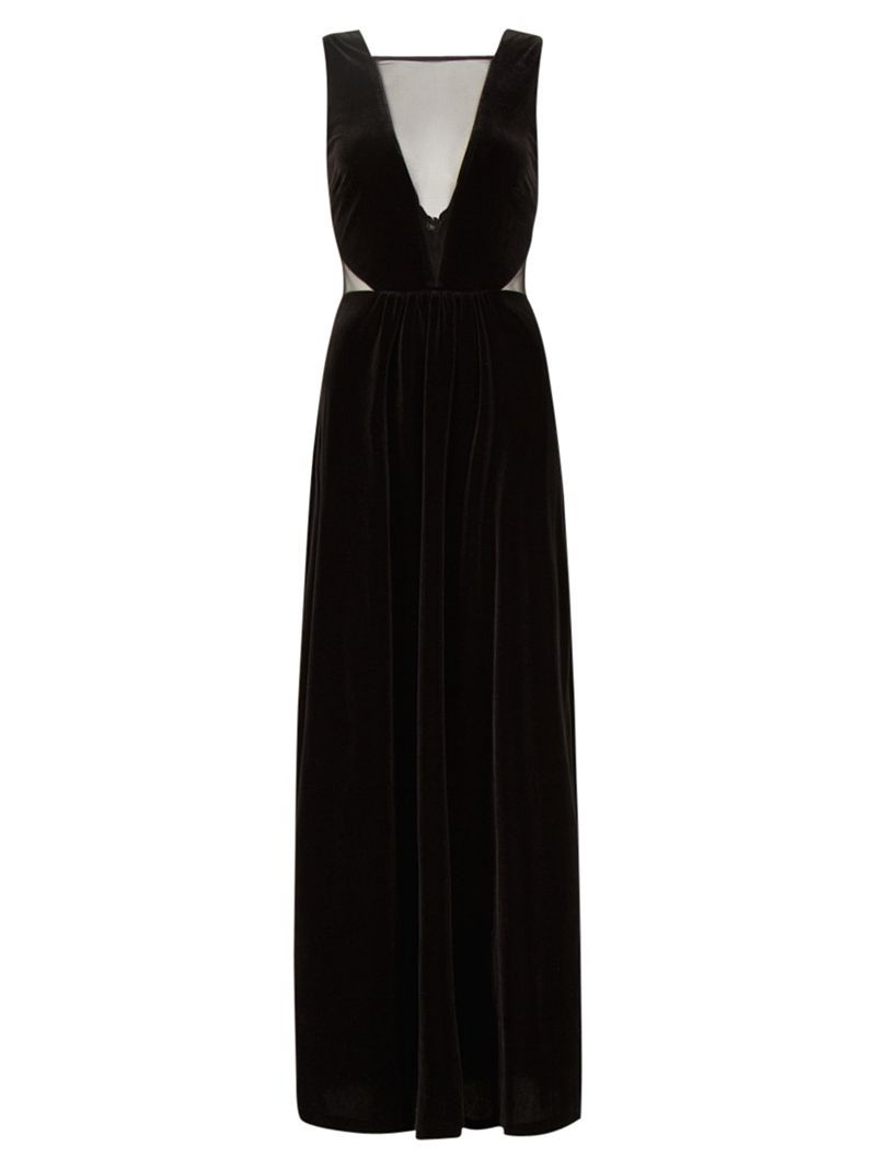 Buy Mango Velvet Maxi Dress, Black online at JohnLewis.com - John ...