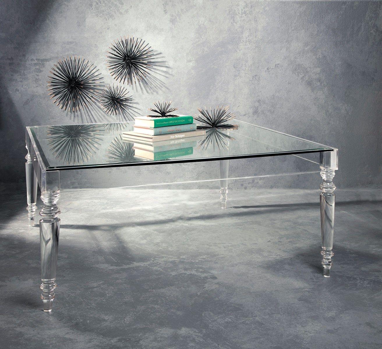Nakasa Home Devaro Oversized Acrylic And Glass Coffee Table Premium Quality Clear Acrylic Creates This Coffee Table Dimensional Wall Decor Glass Coffee Table