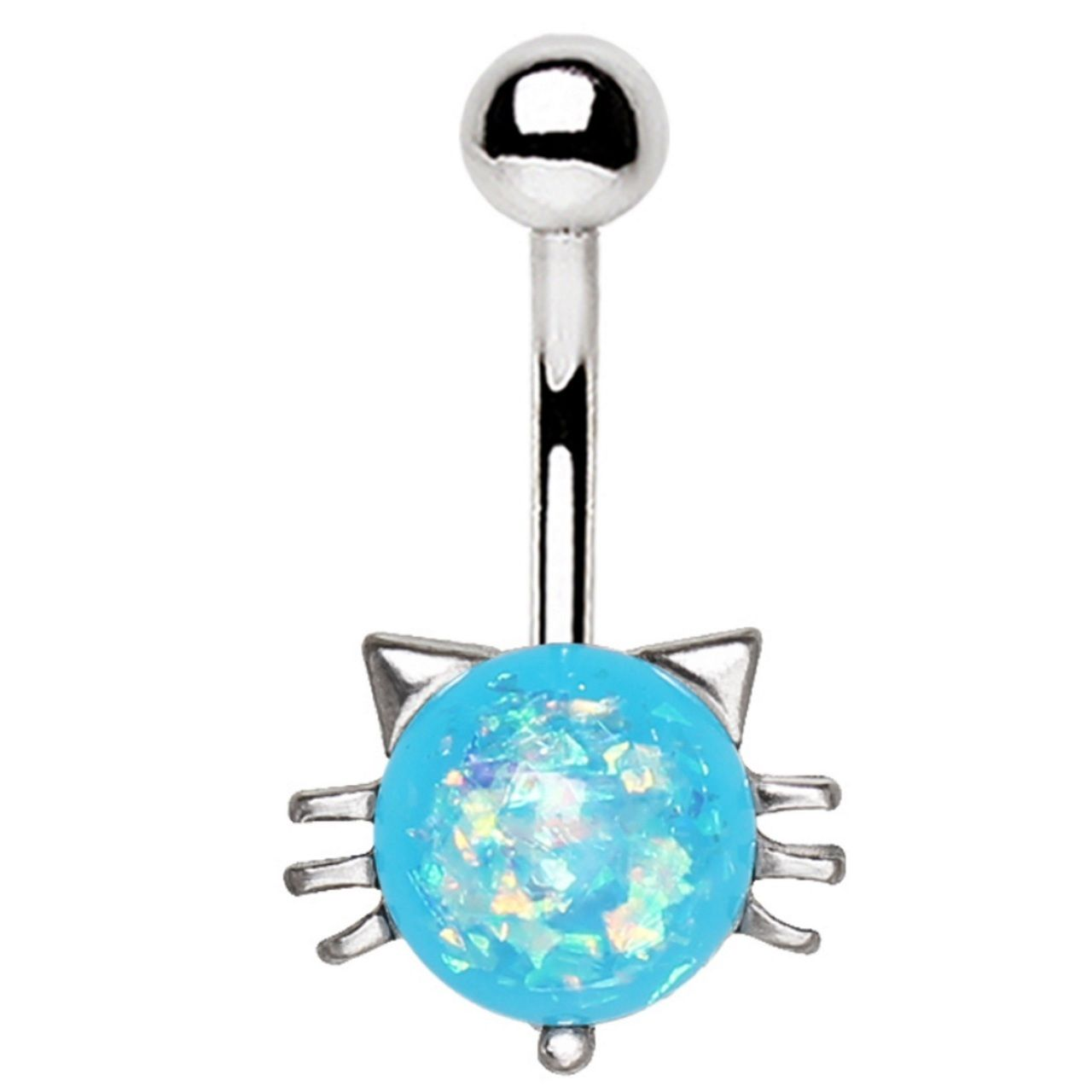 Blue Simulated Opal Heart Shape Prong Belly Button Ring Navel Body Piercing Jewelry