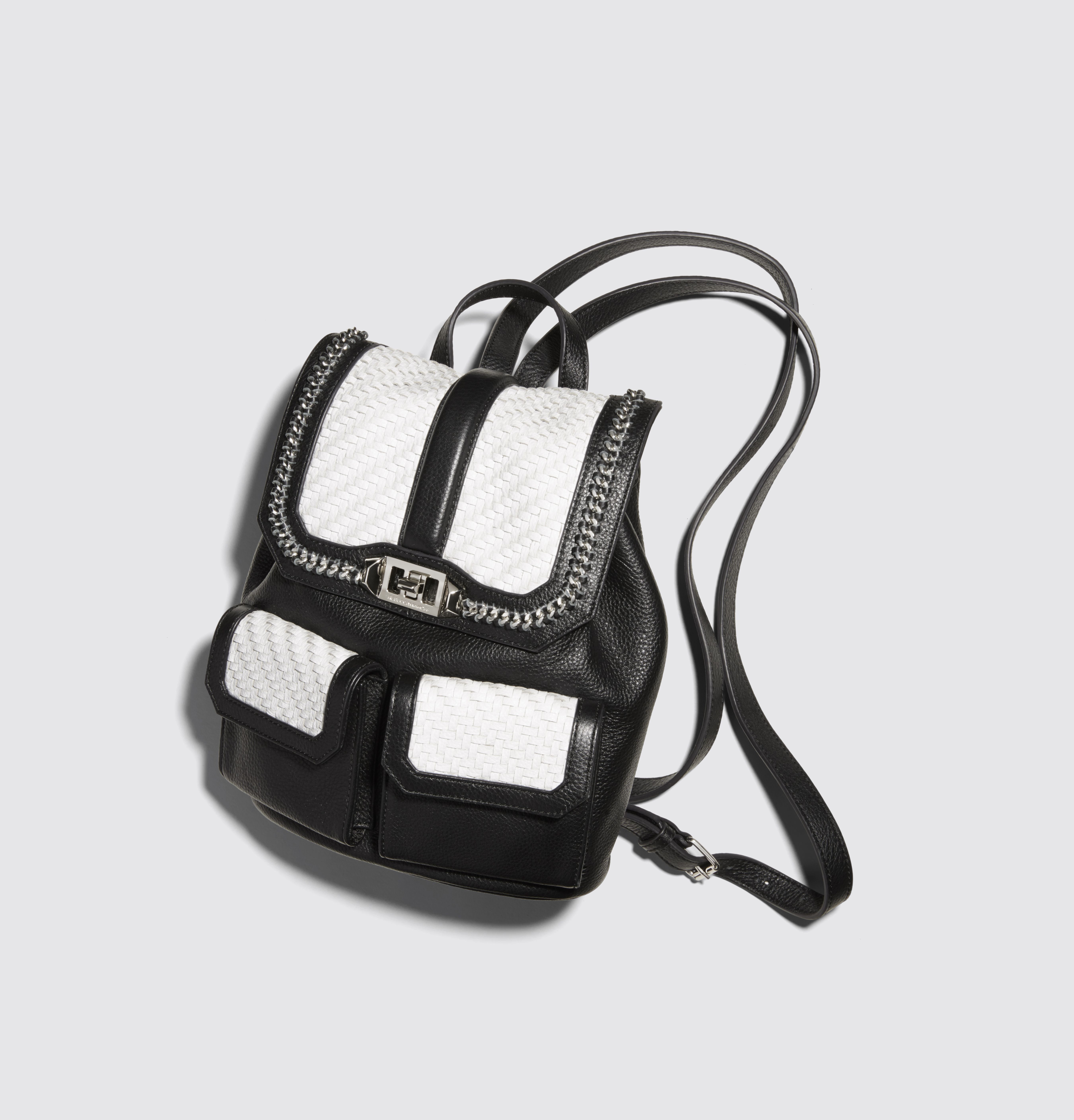 This stylish black/white leather Rebecca Minkoff backpack is exclusive to Bloomie's.