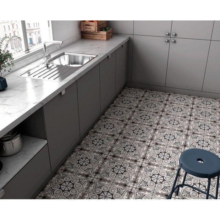 Carrelage grès cérame effet carreau ciment Art Nouveau Grey Opera 20x20cm en 2020 | Carreaux ...