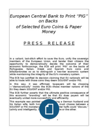 European Central Bank to Print PIG on Coins & Bills