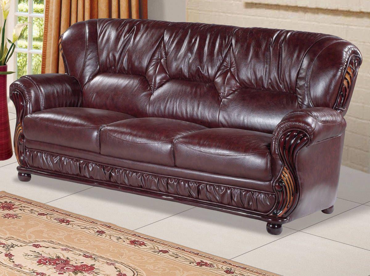 Mina burgundy bonded leather rich mahogany removable back sofa