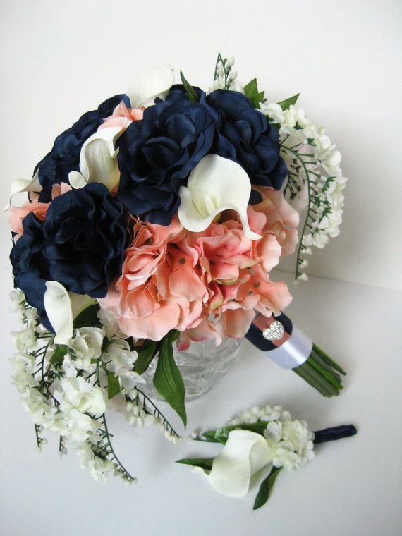 Navy Blue Coral Wedding Bridal Bouquet Real Touch Calla Lily ...