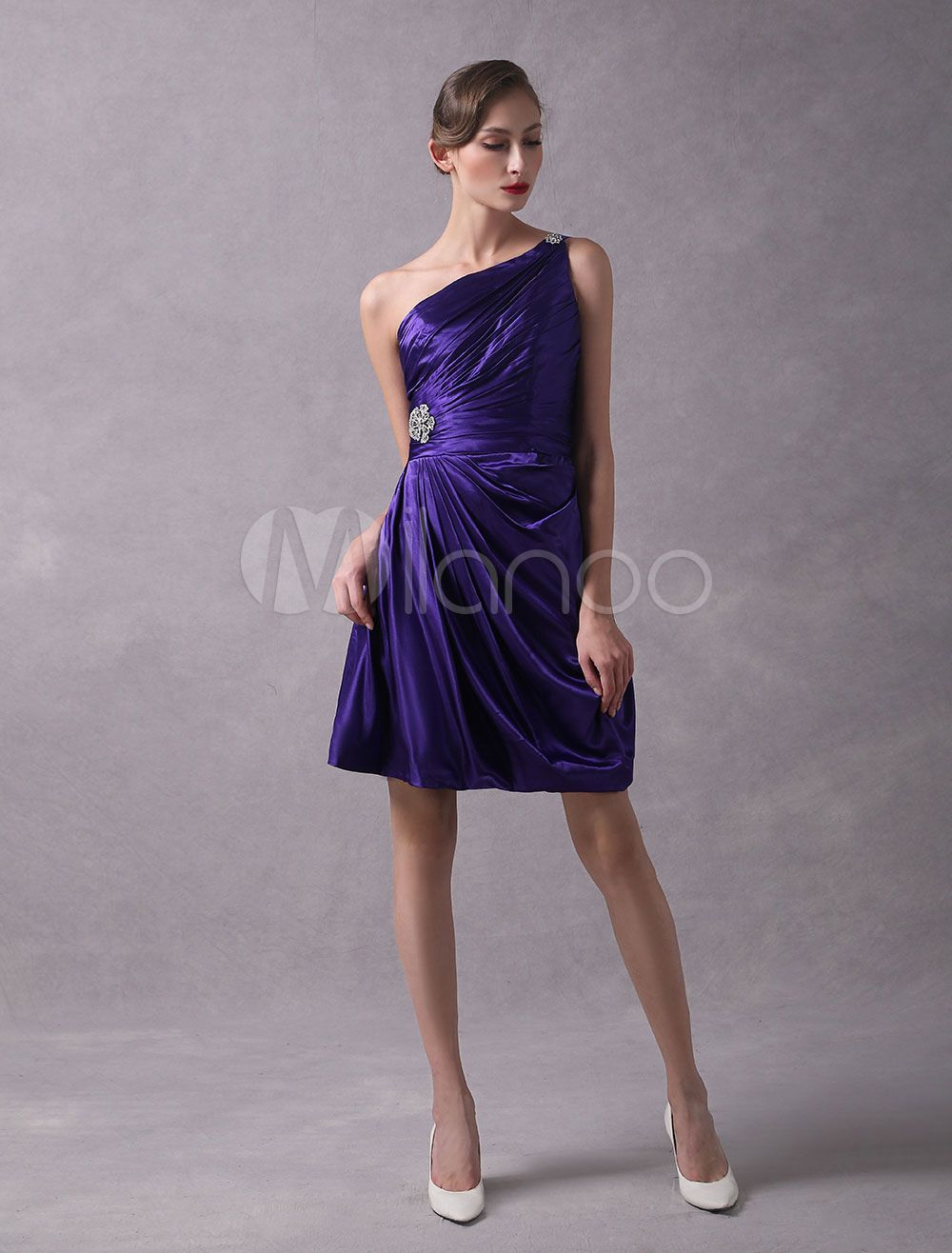 159407f8d09 Short Bridesmaid Dresses One Shoulder Pleated Beaded Royal Purple  Bridesmaid Dress  Dresses