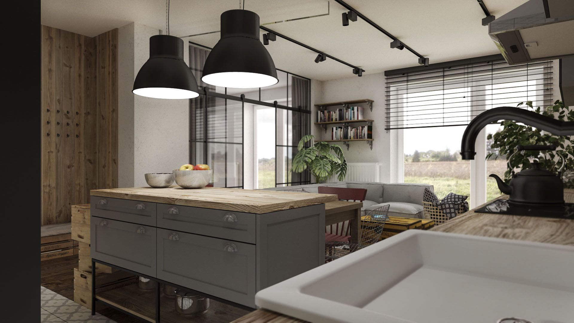 Salon Z Kuchnia W Stylu Industrialnym Home Home Decor Kitchen