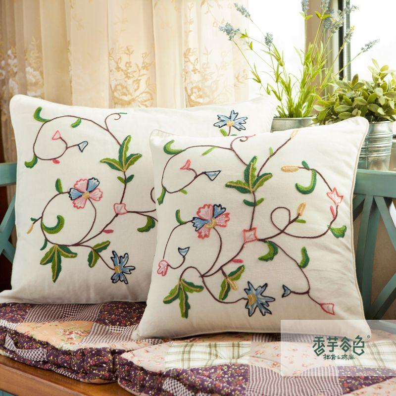 Envío libre rústico bordado Lu fluido Gran sofá cojín bordado hecho ...