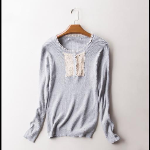 بلوزة نسائي شتوي كم طويل بلوزة صوف خفيف بفتحة رقبة دائرية محاطة بالدانتيل البلوزة بقطعة دانتيل أنيقة مع أزرة آمامية Fashion Blouse Sweaters