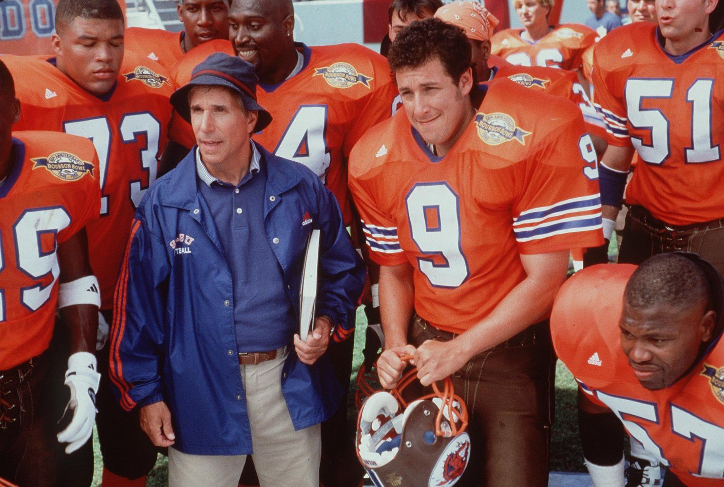 Adam Sandler and Henry Winkler in The Waterboy (1998