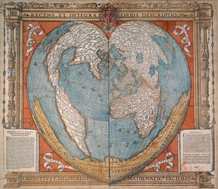The history of cartography the most ambitious overview of map 1534 heart shaped map of the world by oronce fine the first chair of mathematics in the collge royal aka the collge de france gumiabroncs Images