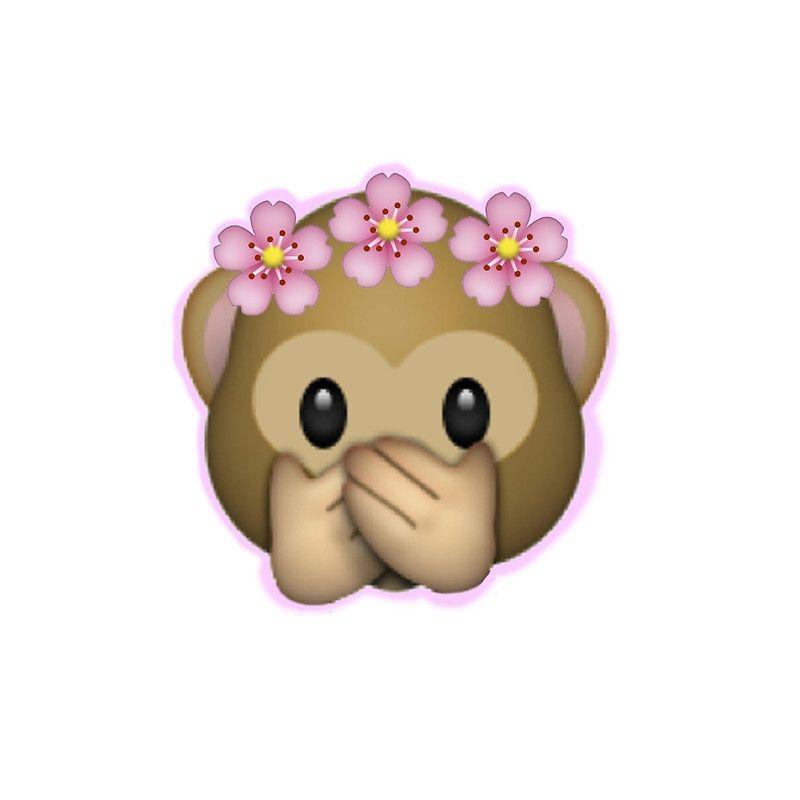 Emoji Monkey Flower Crown Edit By Zannahp Macacos Autocolantes Tumblr Emoji Bonito