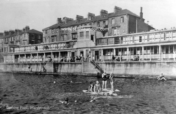 Two photographs of the outdoor bathing pool in old for Best bathrooms hartlepool