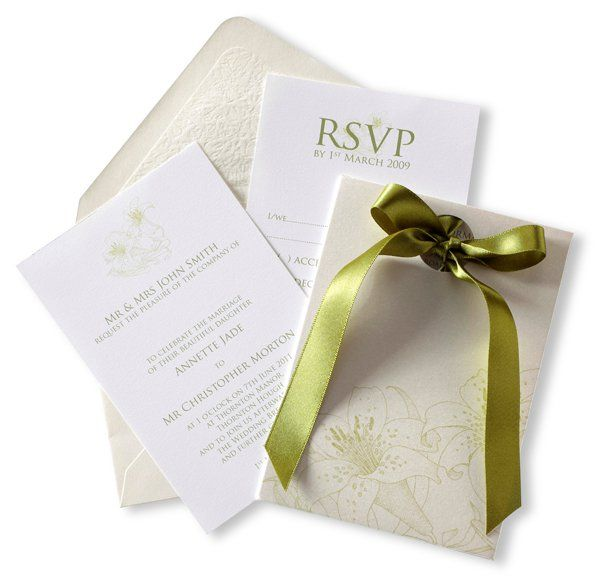 Lily Green Cream Grey And White Pocket Style Wedding Stationery