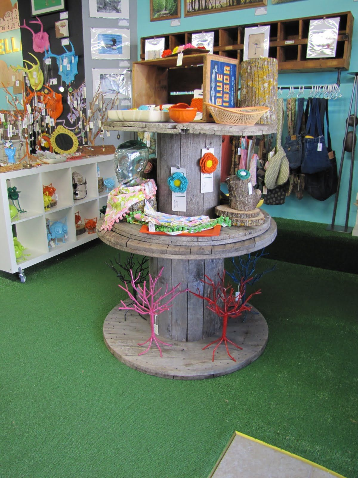 Large Wire Spool Display At Yellow Umbrella A Handmade