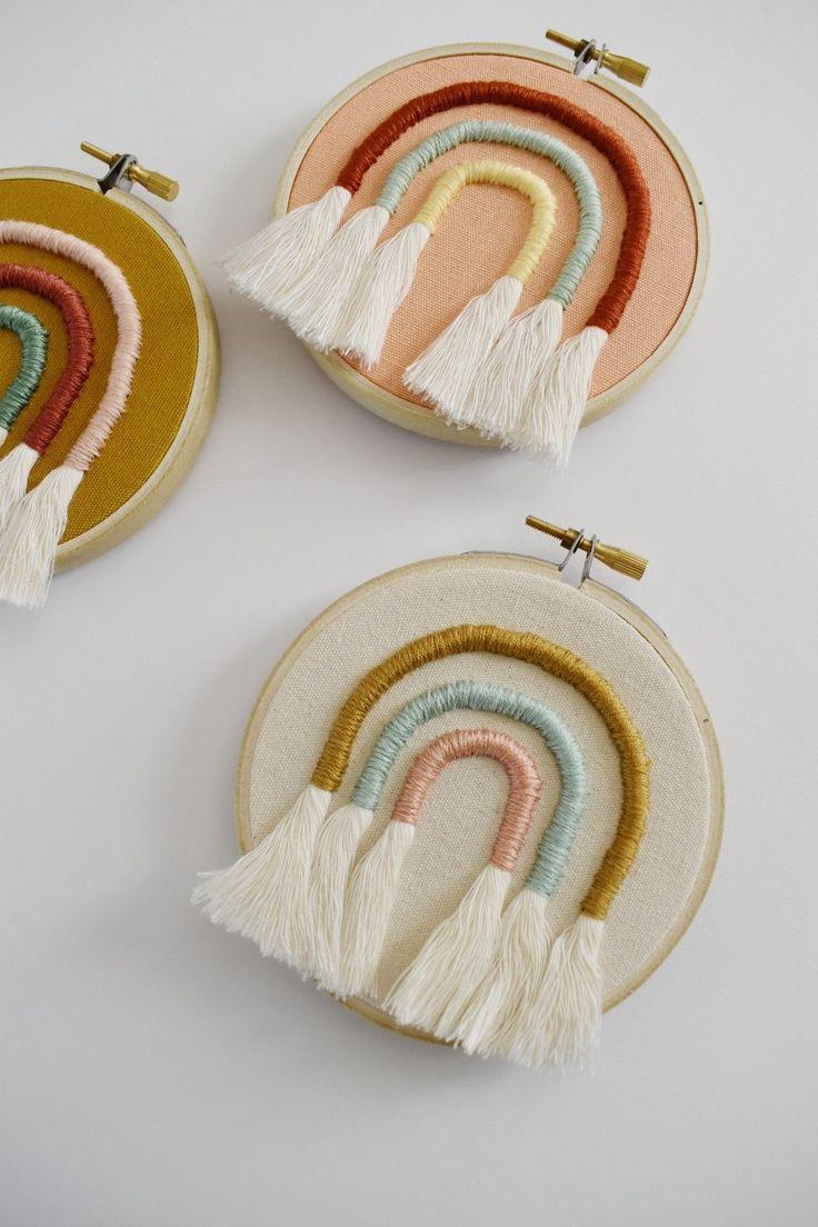 Rainbow Embroidery Hoops