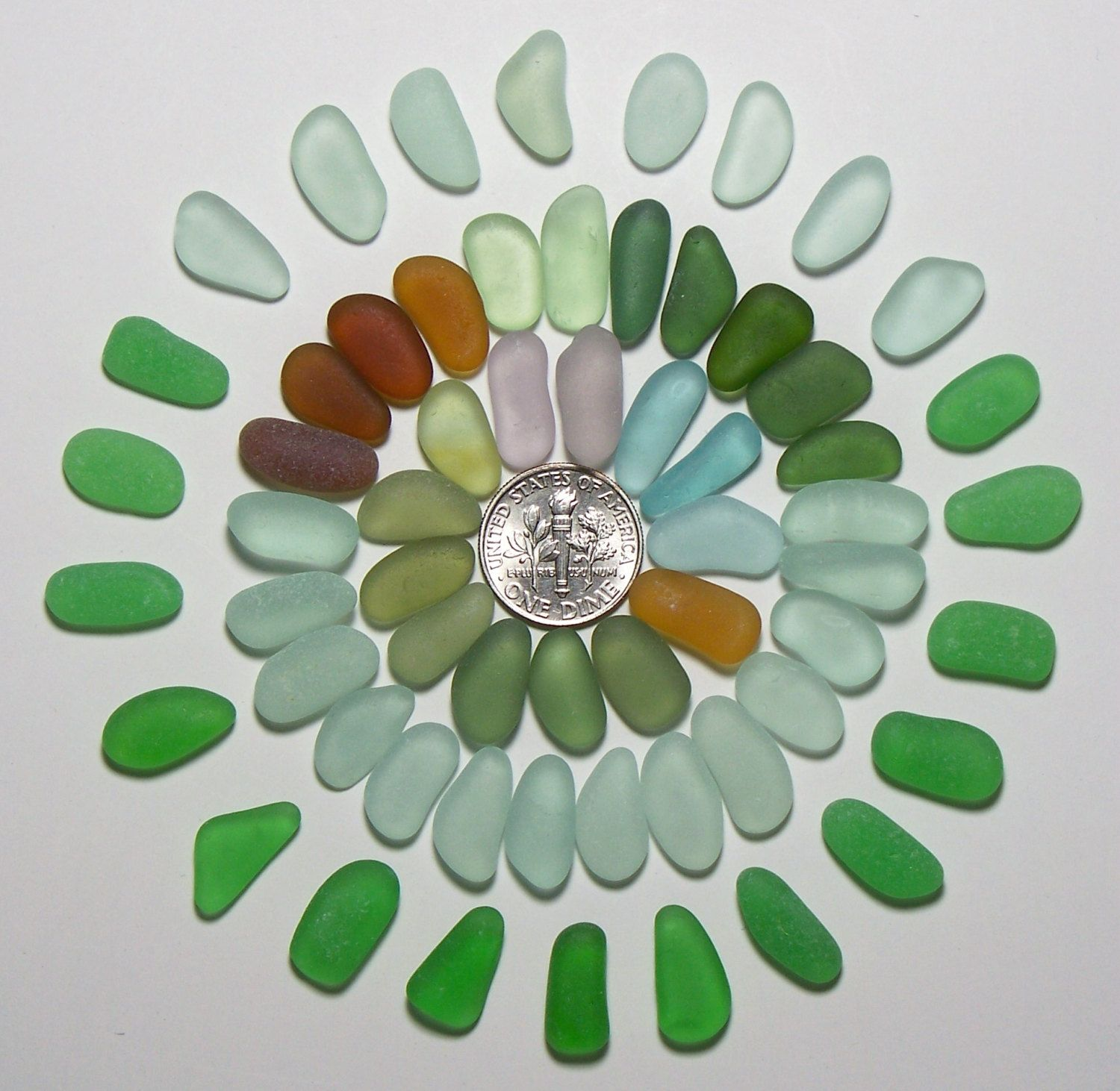 Tactile Tapers (55) Aqua Forest Green Amethyst etc Jewelry Quality Genuine Beach Sea Glass Lot from Ft Bragg(C10) - pinned by pin4etsy.com