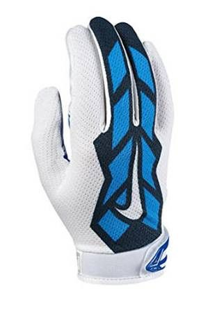 online store df02a 80cf9 Nike Youth s Vapor Jet 3.0 White Blue Football Gloves Boy