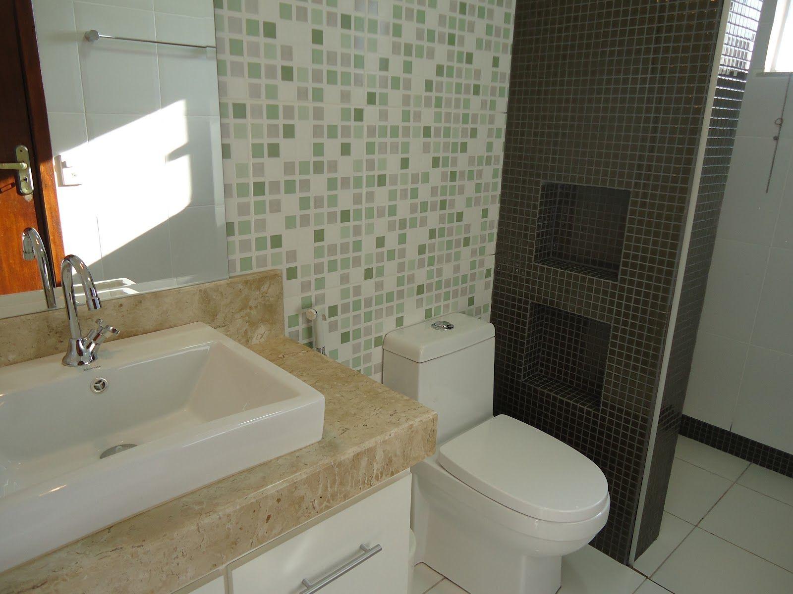 Pin de Géssica Meneghim em Decor  Banheiros  Pinterest  Pastilhas, Banheir -> Reforma Banheiro Moderno