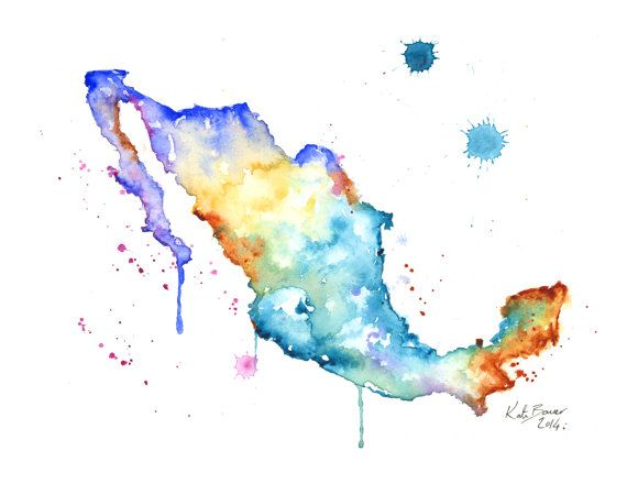 """Mexico Map 8.5 x 11"""" Watercolor map print"""