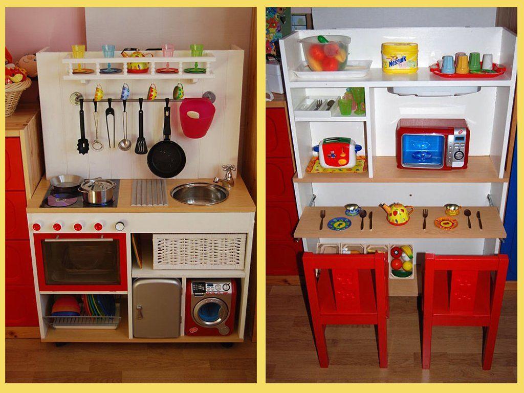 Cocinitas de juguete hechas con muebles reutilizados - Material de cocina ...
