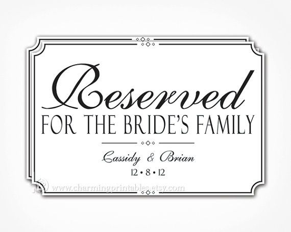 Reserved Sign for Wedding PRINTABLE PDF by