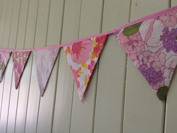 Pretty in Pink Vintage Floral Fabric Bunting / by Anna Made  www.etsy.com/shop/annamadegoods